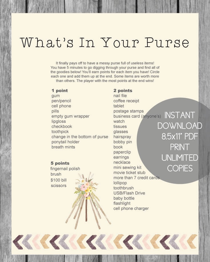 Printable What's In Your Purse Baby Shower Game - Boho Tribal Theme