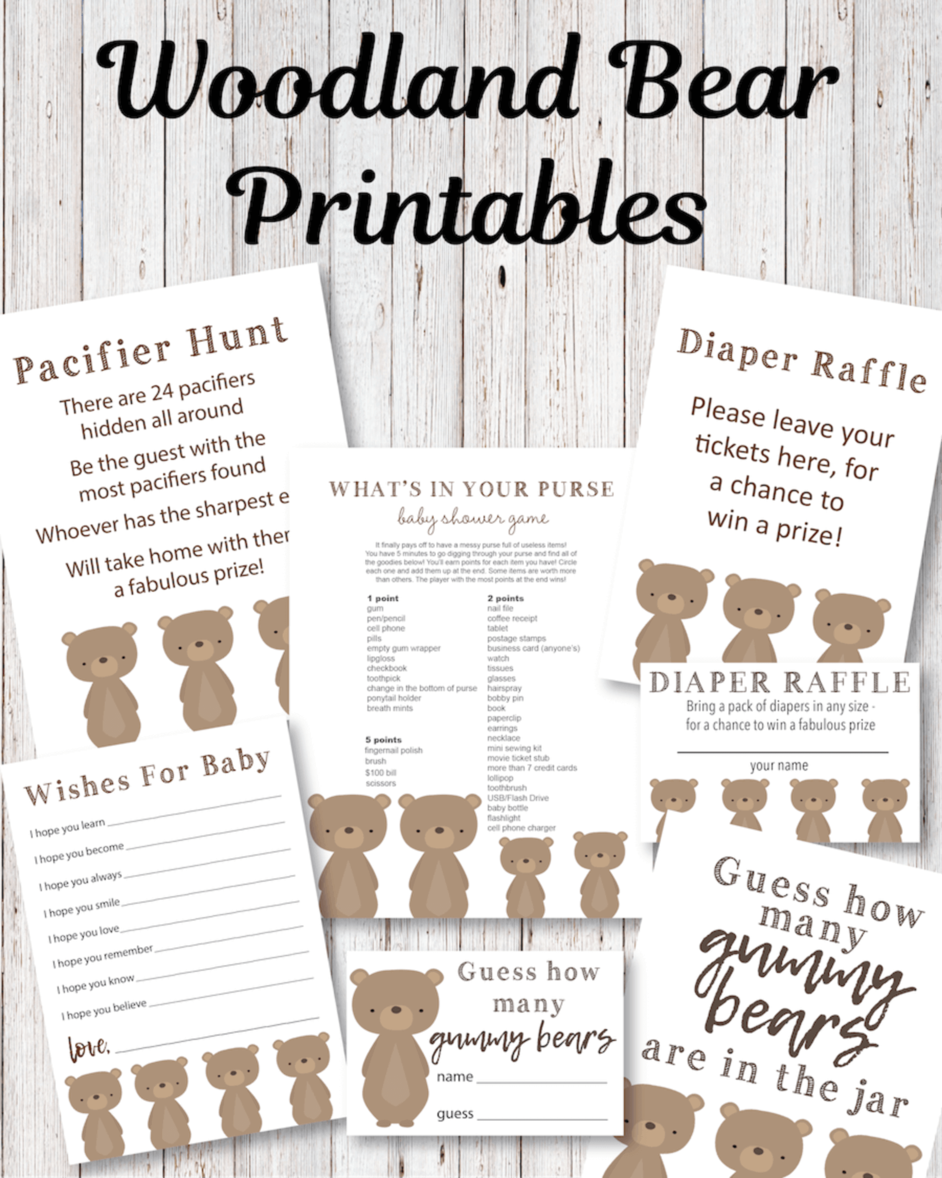 Printable Woodland Bear Baby Shower Game Pack