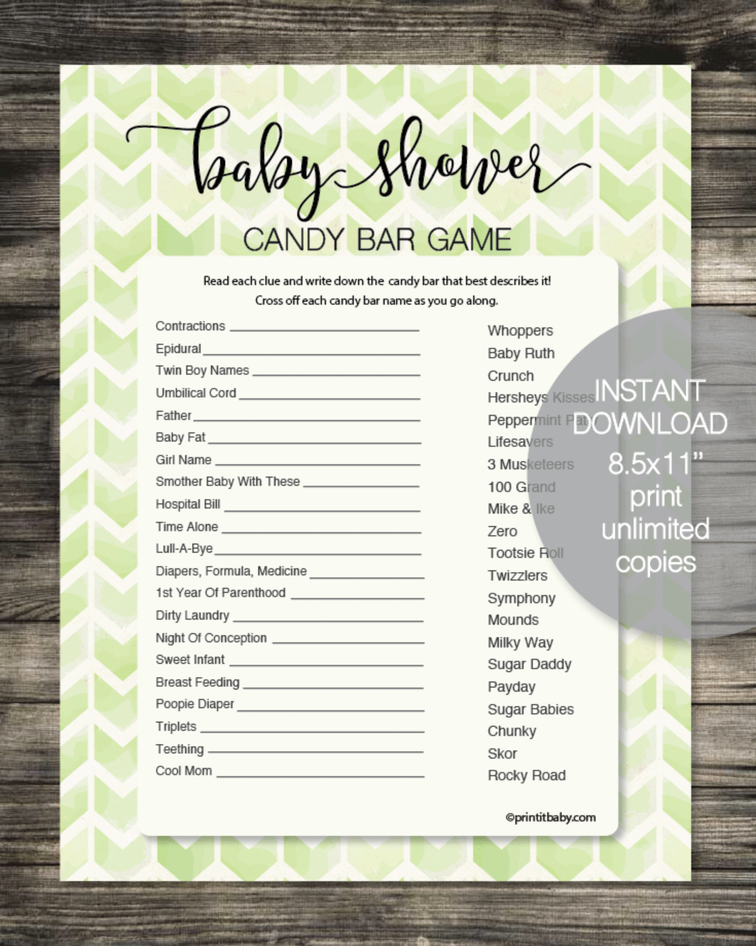 Baby Shower Candy Bar Game - Lime Green Chevron Watercolor Boho Arrows
