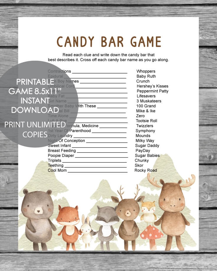 Printable Baby Shower Candy Bar Game - Woodland Animals Watercolor Theme