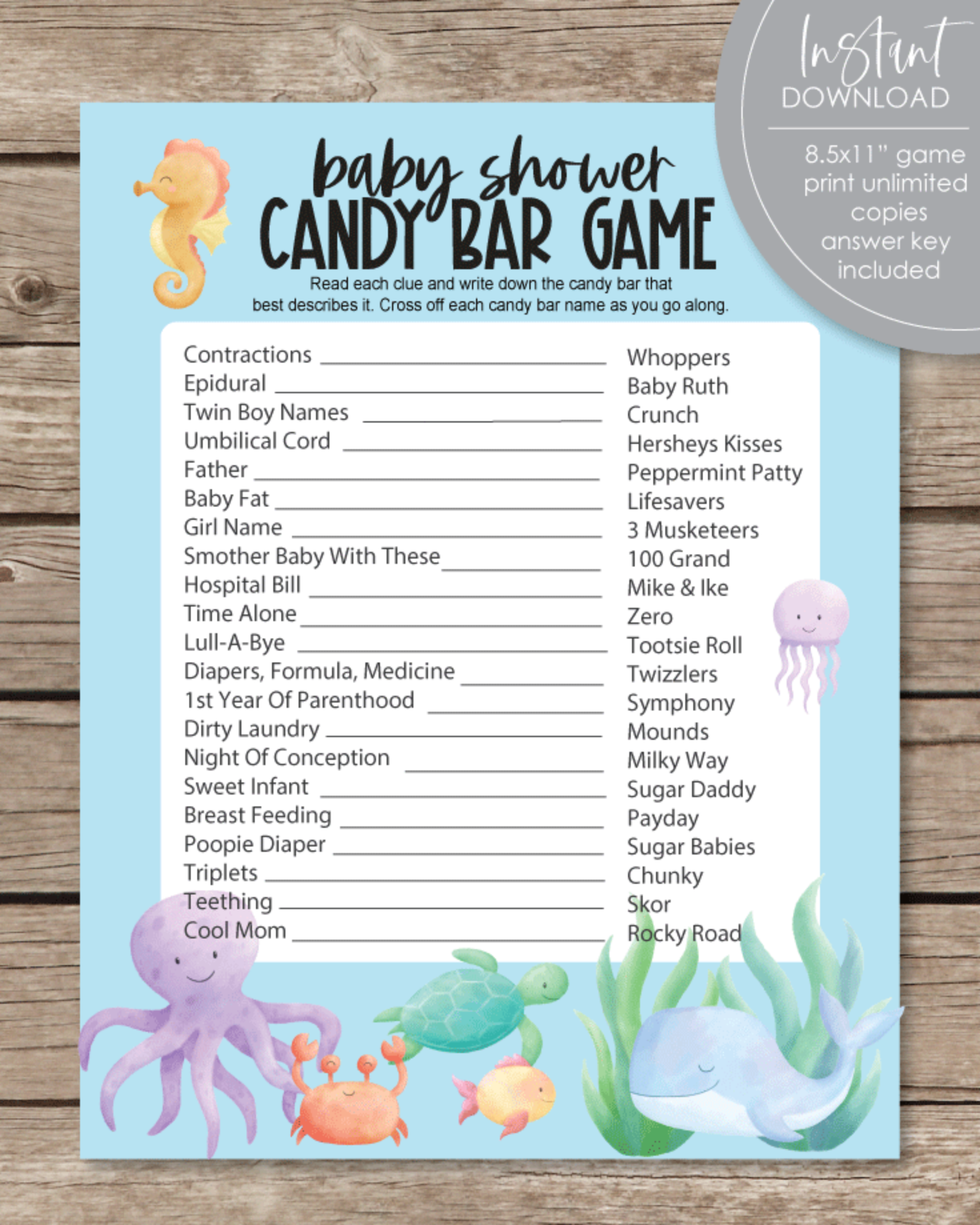 Printable Baby Shower Candy Bar Game - Under The Sea, Sea Creatures Theme