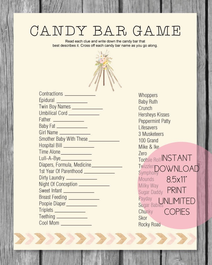 Baby Shower Candy Bar Game - Boho Teepee Tribal Theme