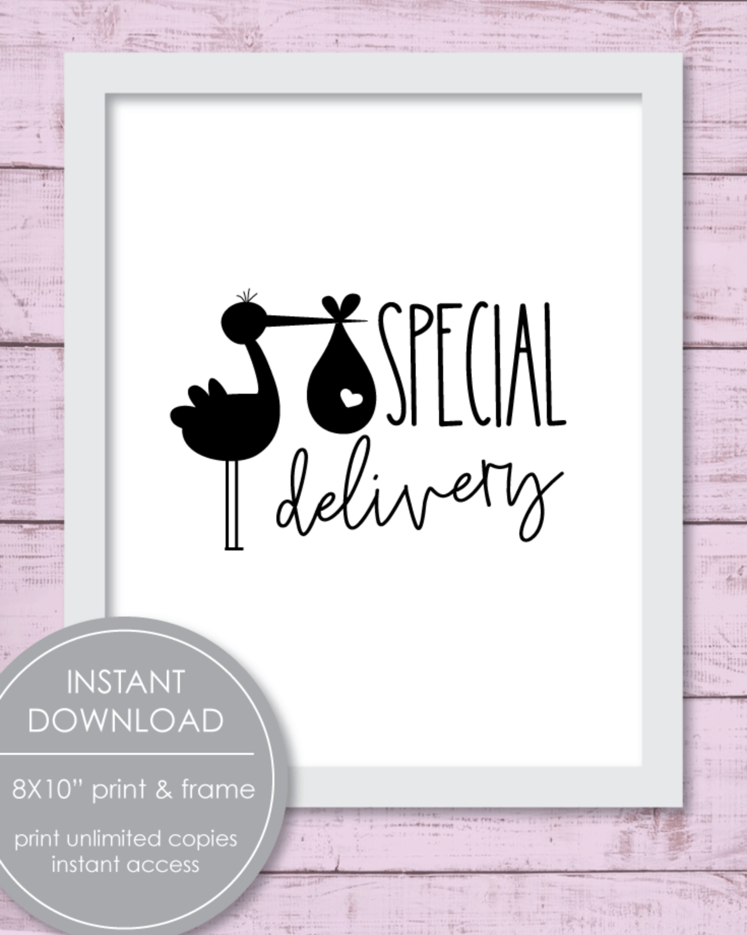 """Printable Baby Stork Nursery Decor Wall Art - Special Delivery Stork Sign 8x10"""""""
