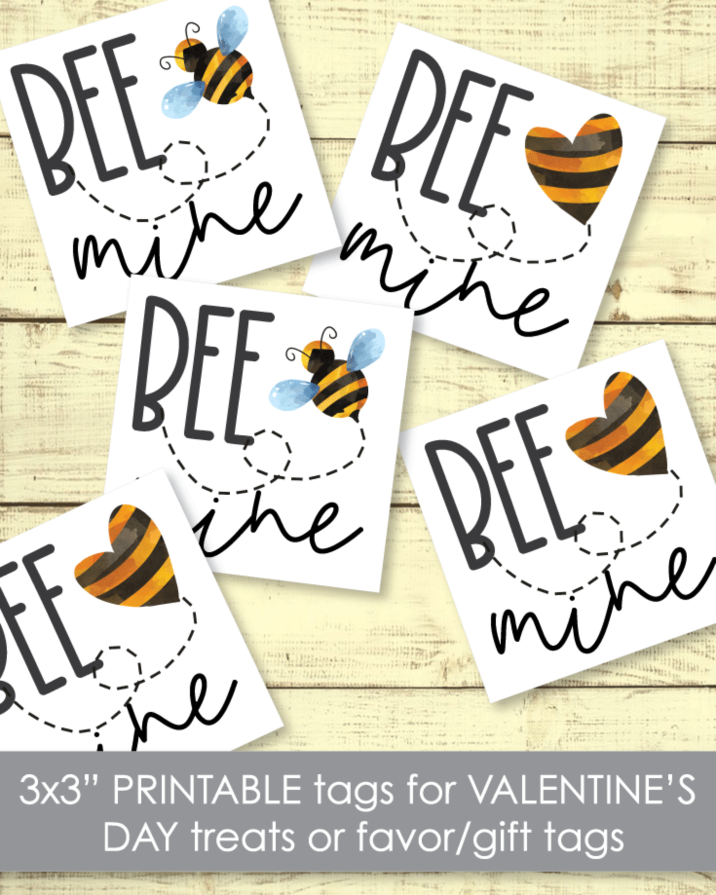 "Printable Bee Mine Valentine's Day Cards Tags 3""x3"""