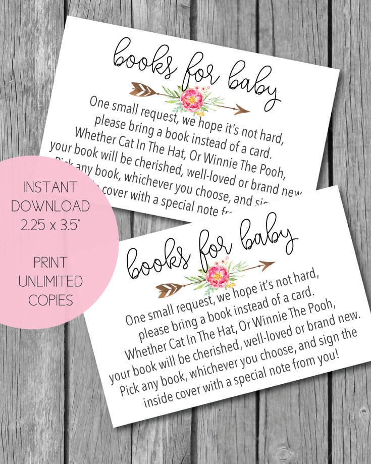 Printable Pink Arrow Flowers Books For Baby Cards - tribal boho theme