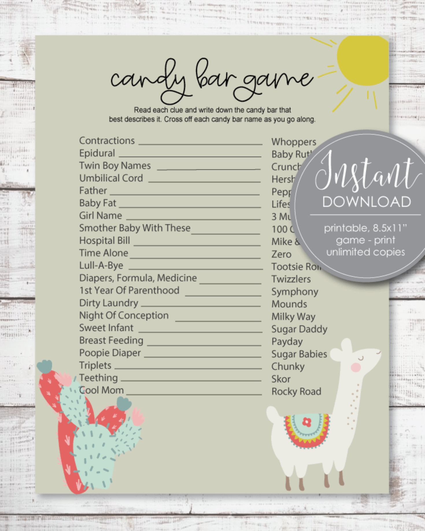 Baby Shower Candy Bar Game - Boho Llama Cactus Theme