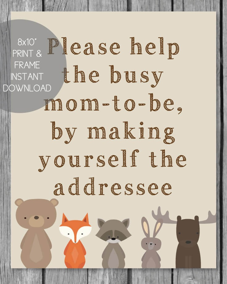 Woodland Animals Printable Address Request Baby Shower Sign