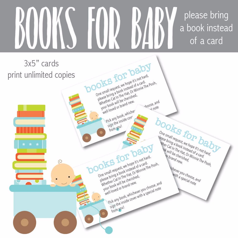 """Printable """"Books For Baby"""" Cards - Blue Baby Shower Cards"""