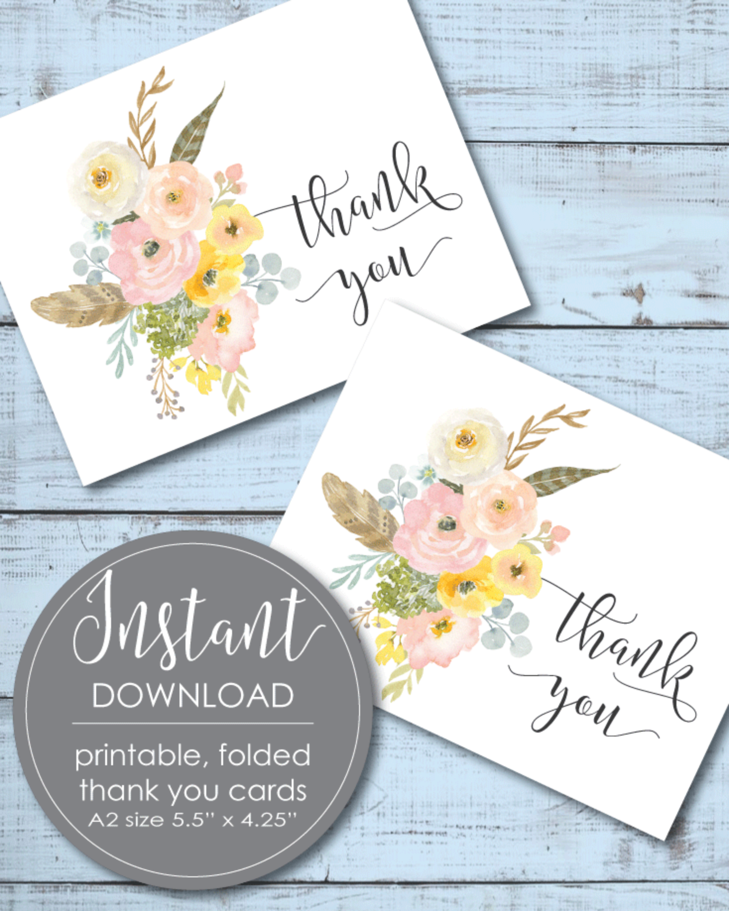 Printable Thank You Card - Flower Theme - 5.5 x 4.25""
