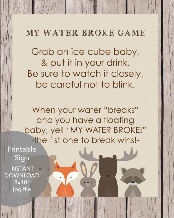 Woodland Animals Printable My Water Broke Baby Shower Game