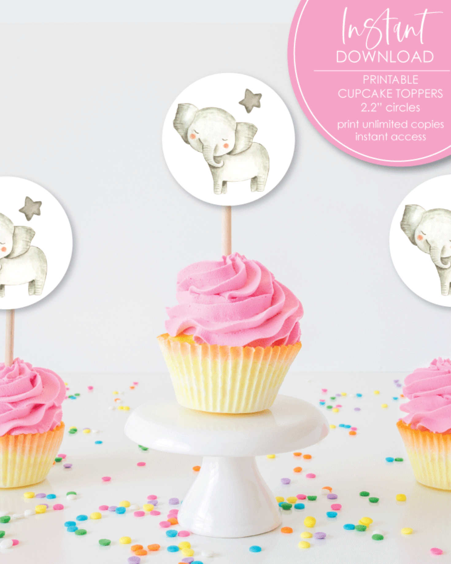 Printable Elephant Baby Shower Cupcake Toppers