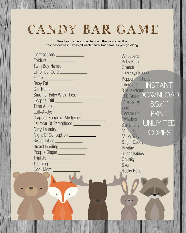 Woodland Animals Baby Shower Candy Bar Game