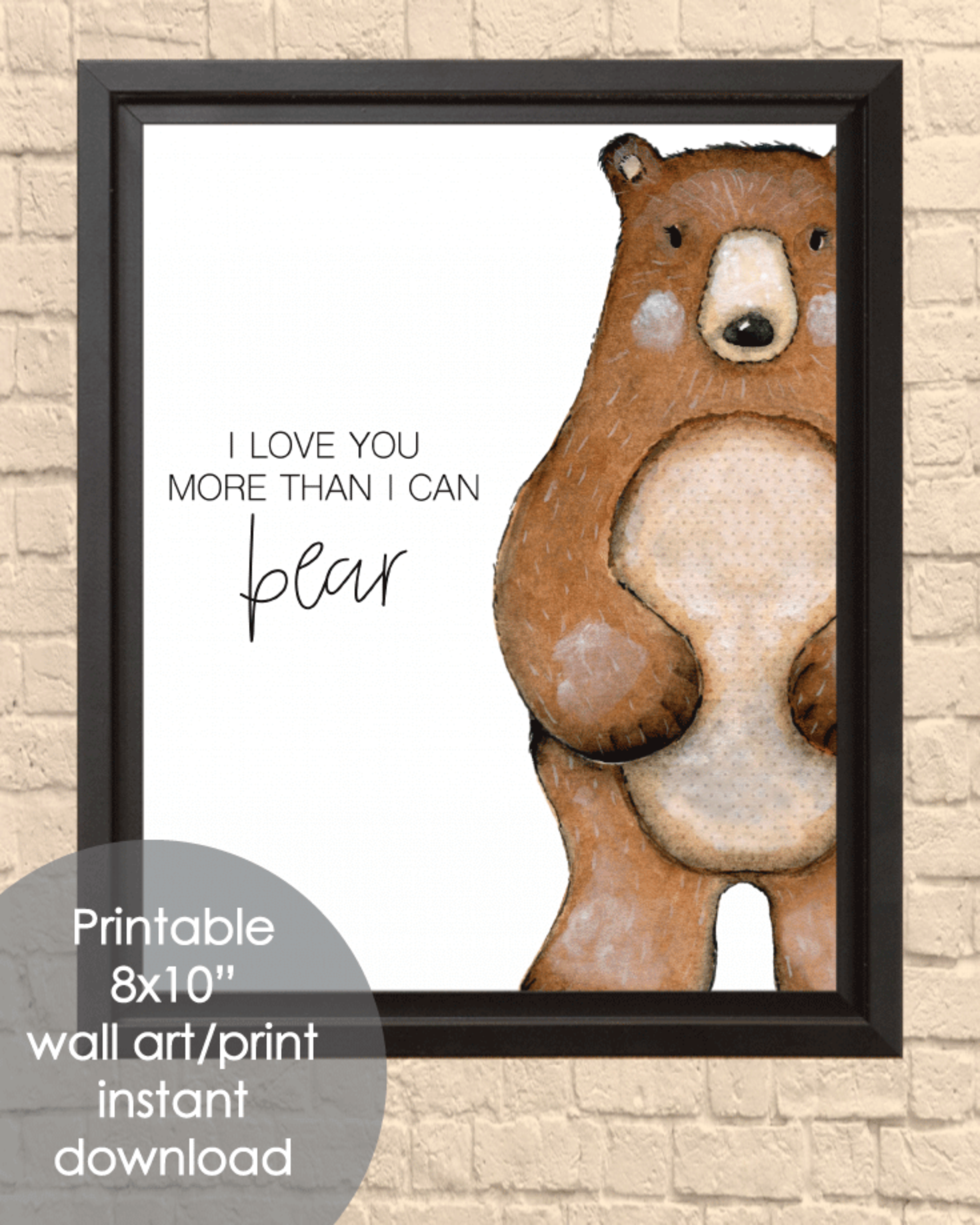 "Printable Bear, 8x10"" Wall Art Sign - Kid Playroom or Bedroom Sign"