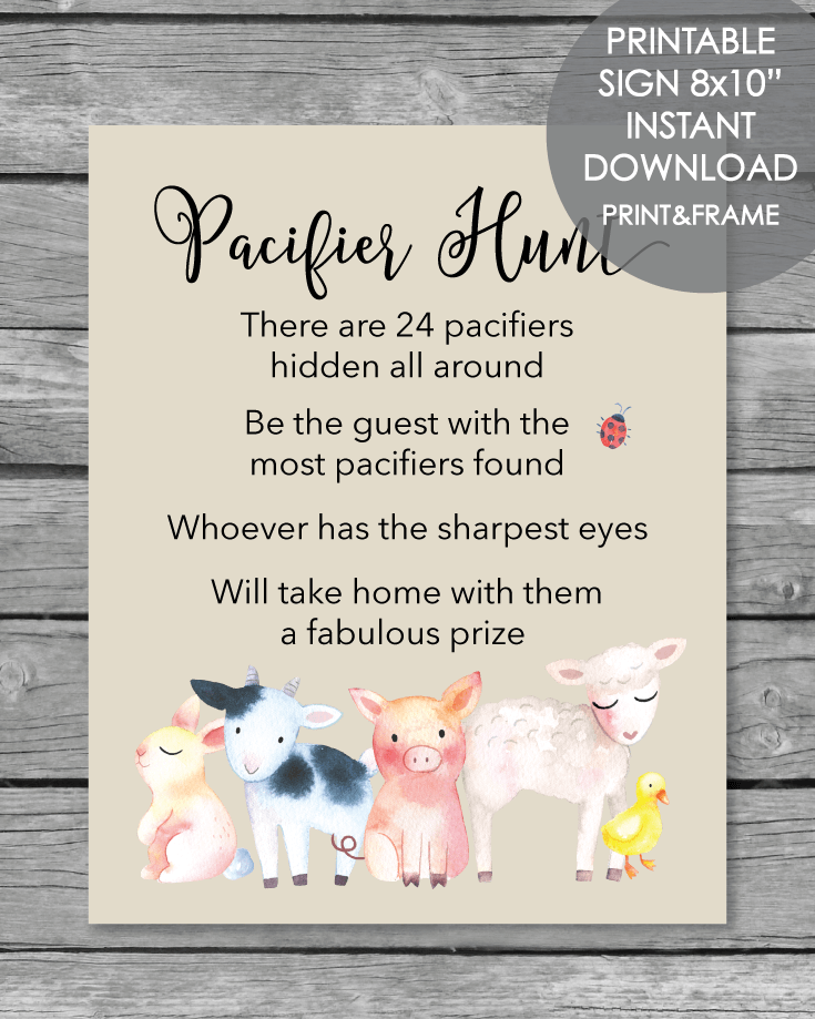 Printable Pacifier Hunt Baby Shower Game Sign - Farm Animals