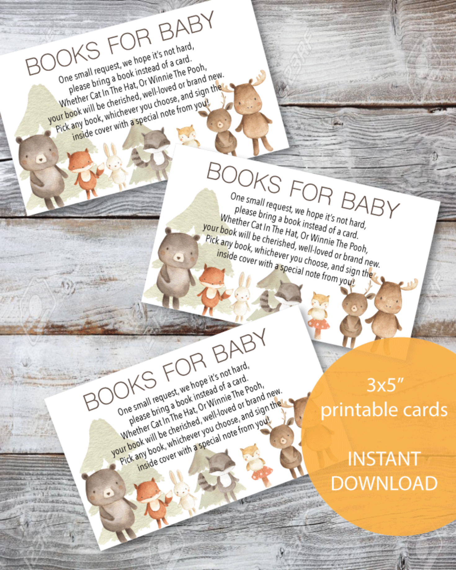 Printable Books For Baby Cards - Woodland Watercolor Animals Theme