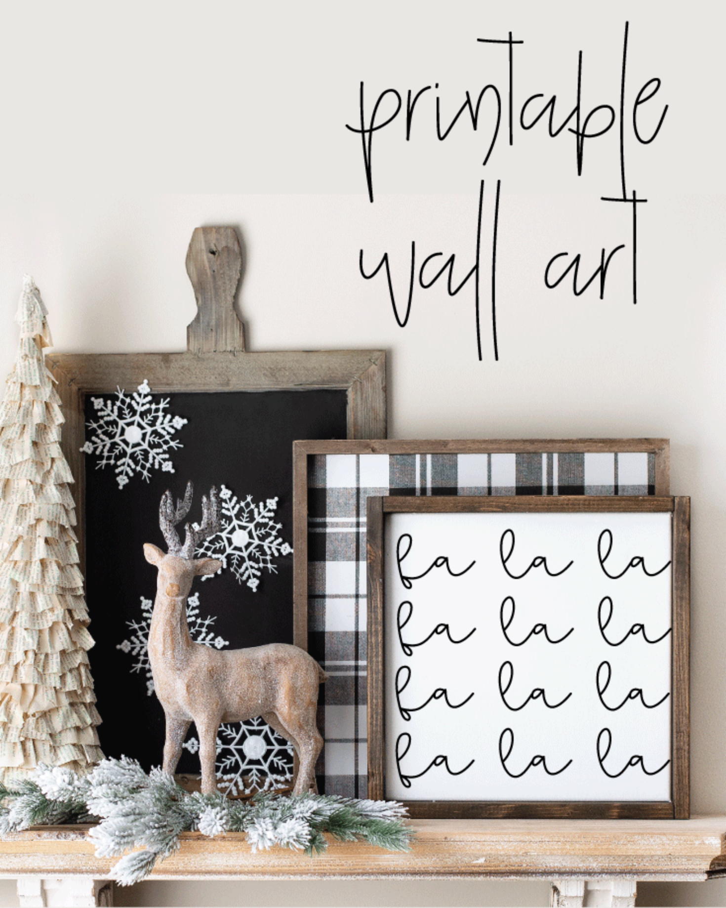 Printable, Fa La La, Holiday Winter Christmas Wall Art Sign Print