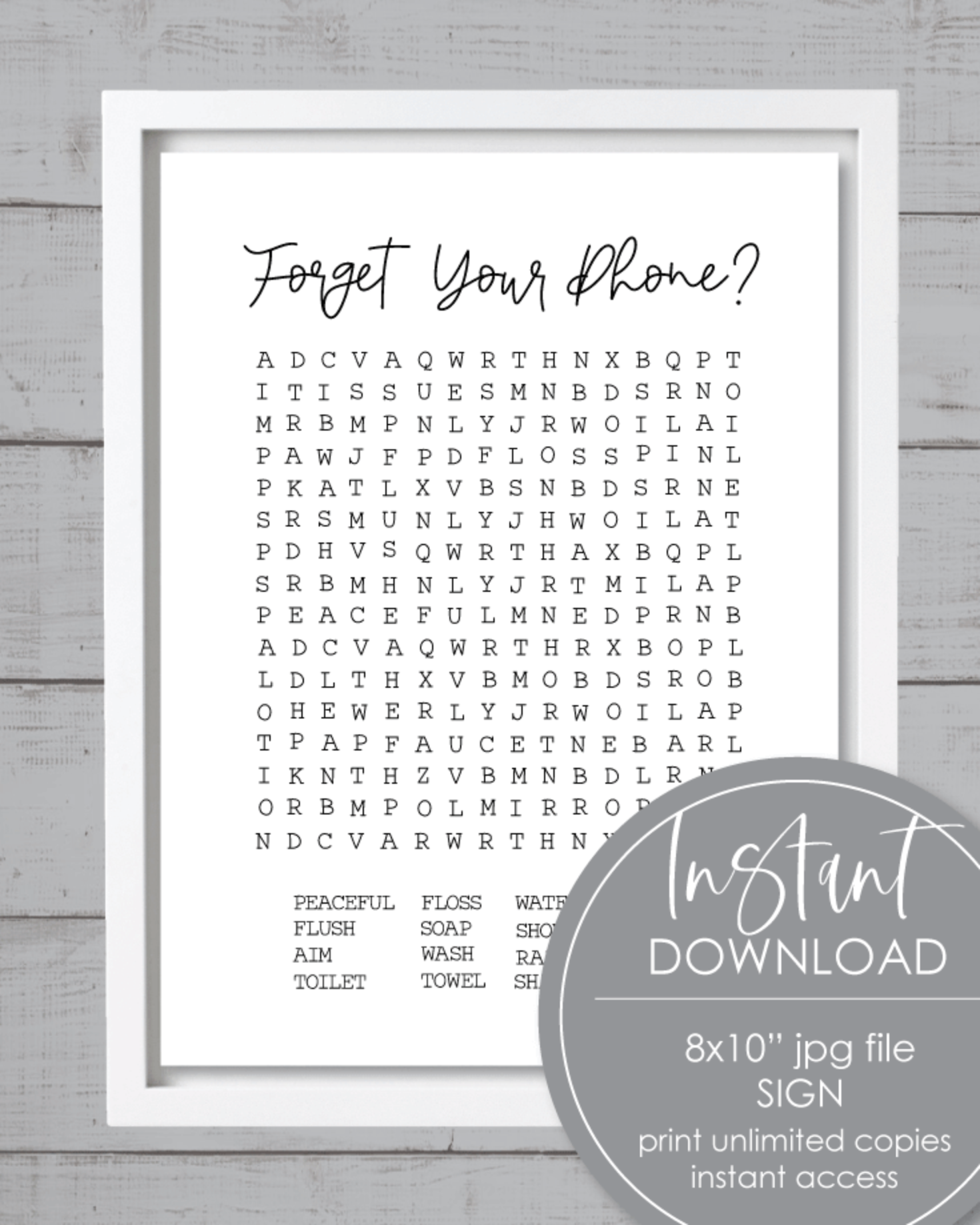 Printable Forget Your Phone Word Search Bathroom Sign