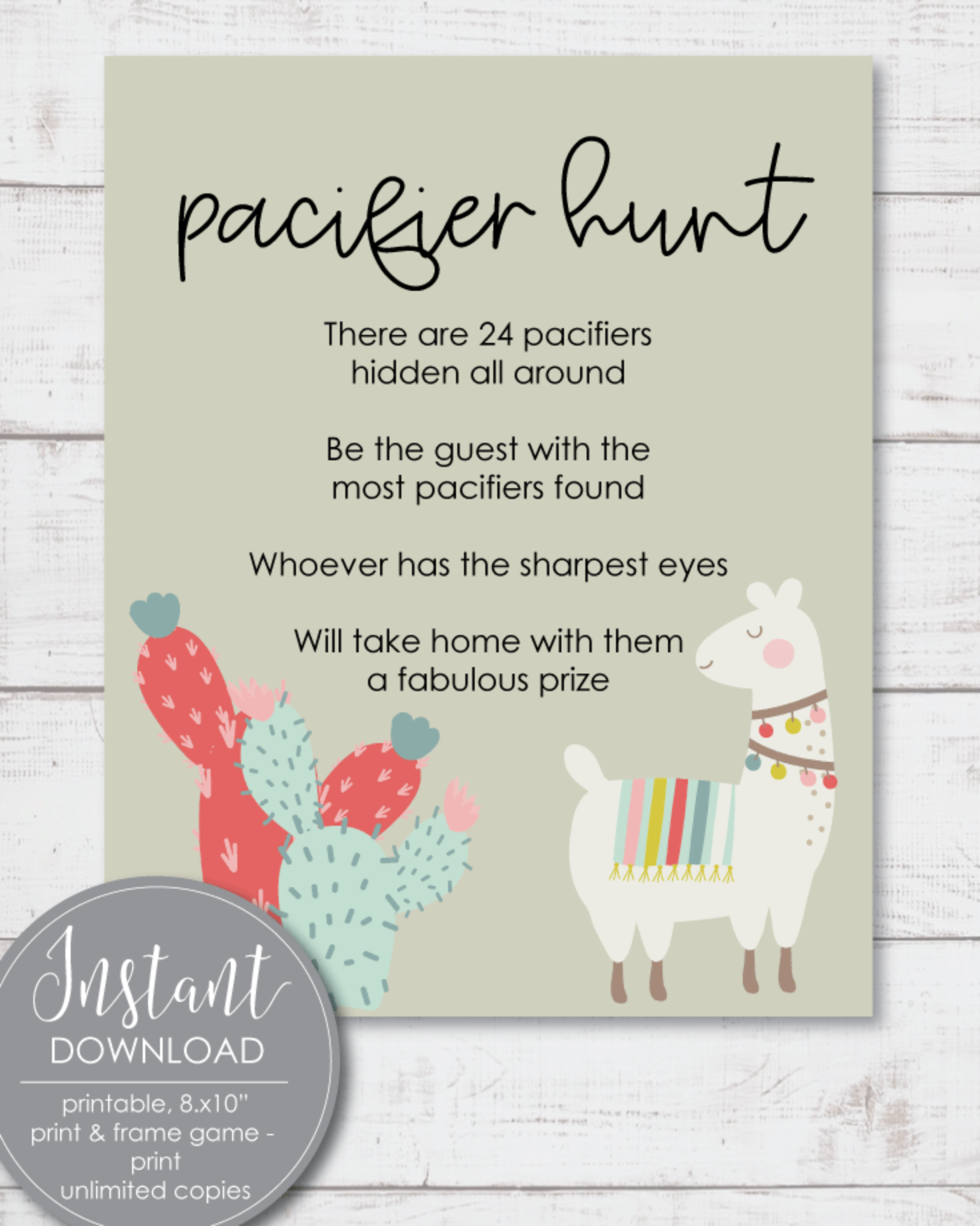 Printable Pacifier Hunt Baby Shower Game Sign - Boho Llama Cactus Theme