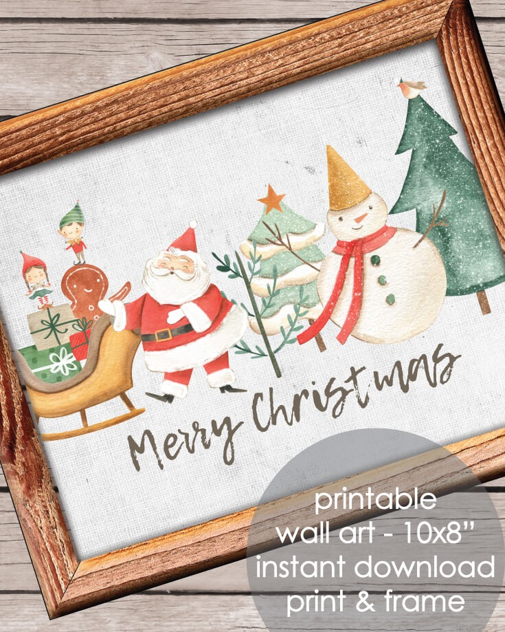 Printable Merry Christmas ​Holiday Wall Art - Christmas, Winter Theme 10x8""