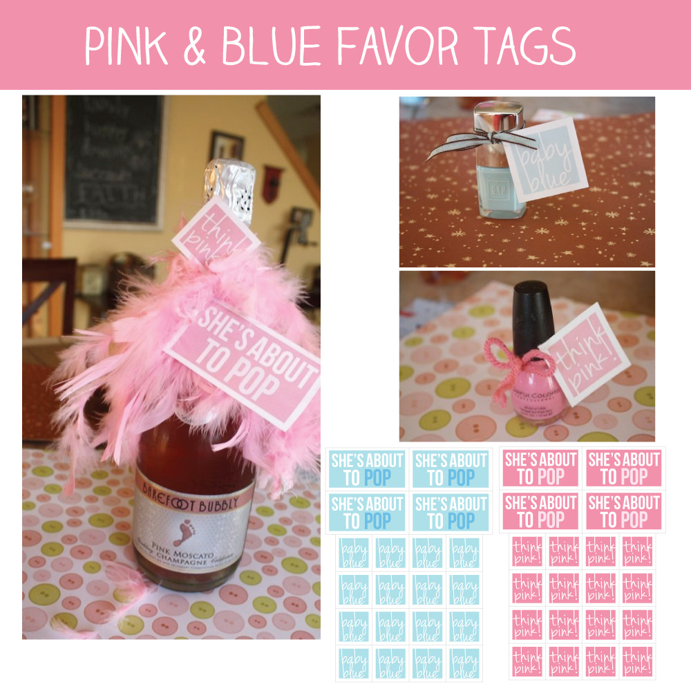 About To Pop Pink & Blue Baby Shower Favor Tags