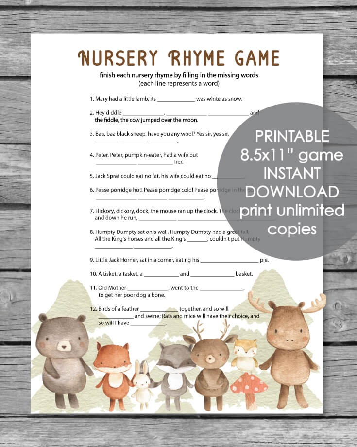 Printable Baby Shower Nursery Rhyme Game - Woodland Animals Watercolor Theme