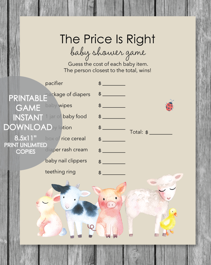 Printable Baby Shower Game - The Price Is Right - Farm Animals Watercolor Theme