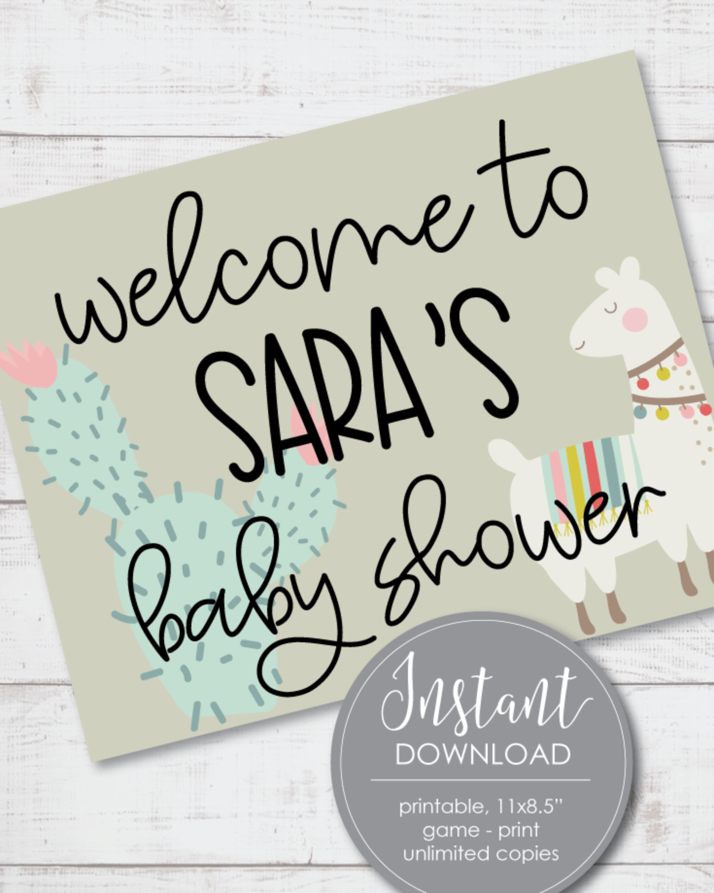 Printable Boho Llama Cactus Welcome Baby Shower Sign - Customize