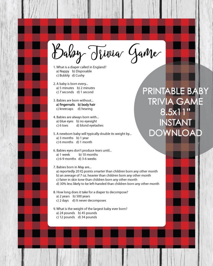 Printable Baby Shower Trivia Game - Holiday Red And Black Buffalo Plaid Lumberjack Theme