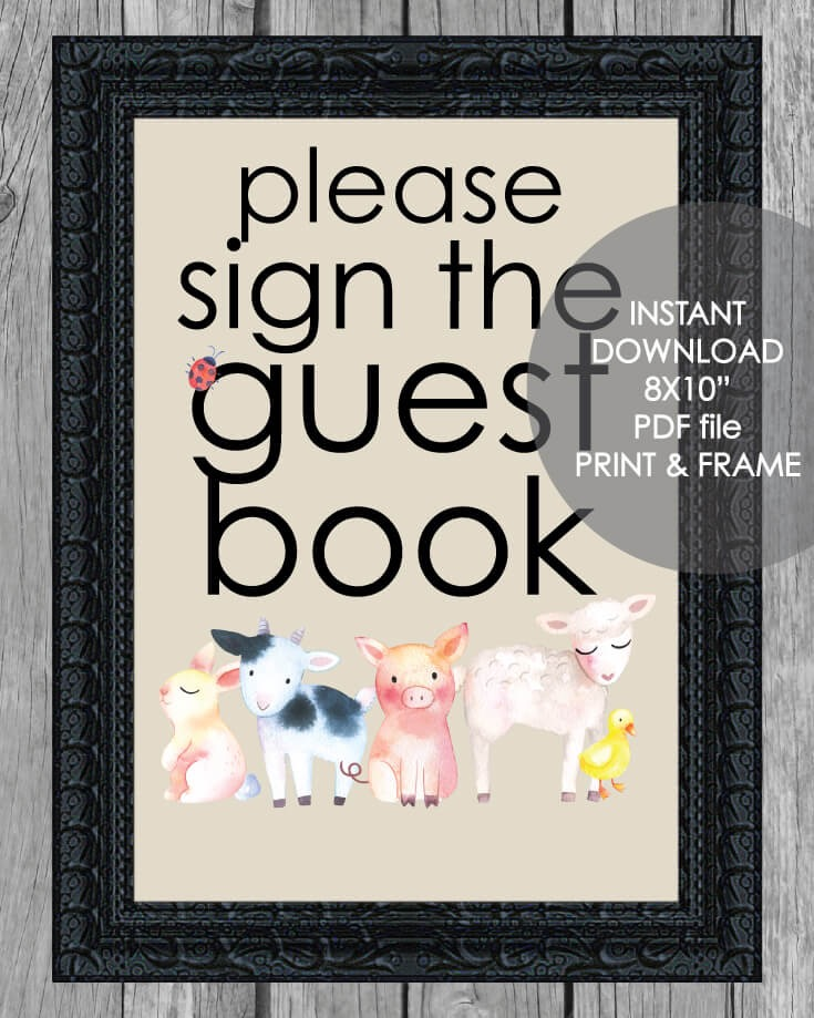 "Printable Guest Book Sign - 8x10"" Baby Farm Animals Theme"