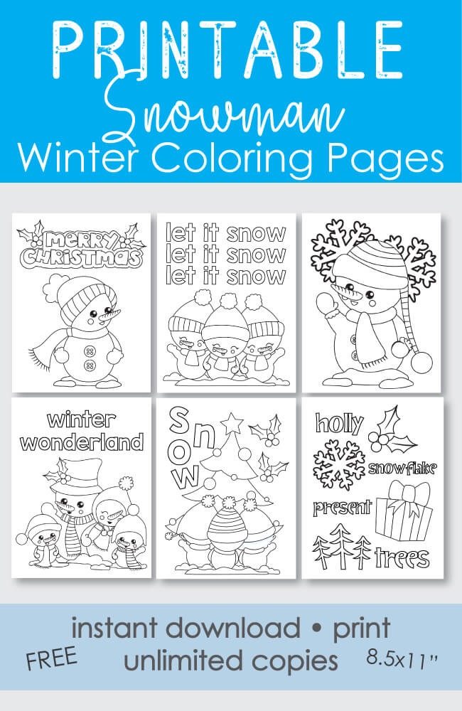 ​FREE Printable Snowman Coloring Pages - 6 pages Holiday Winter Theme