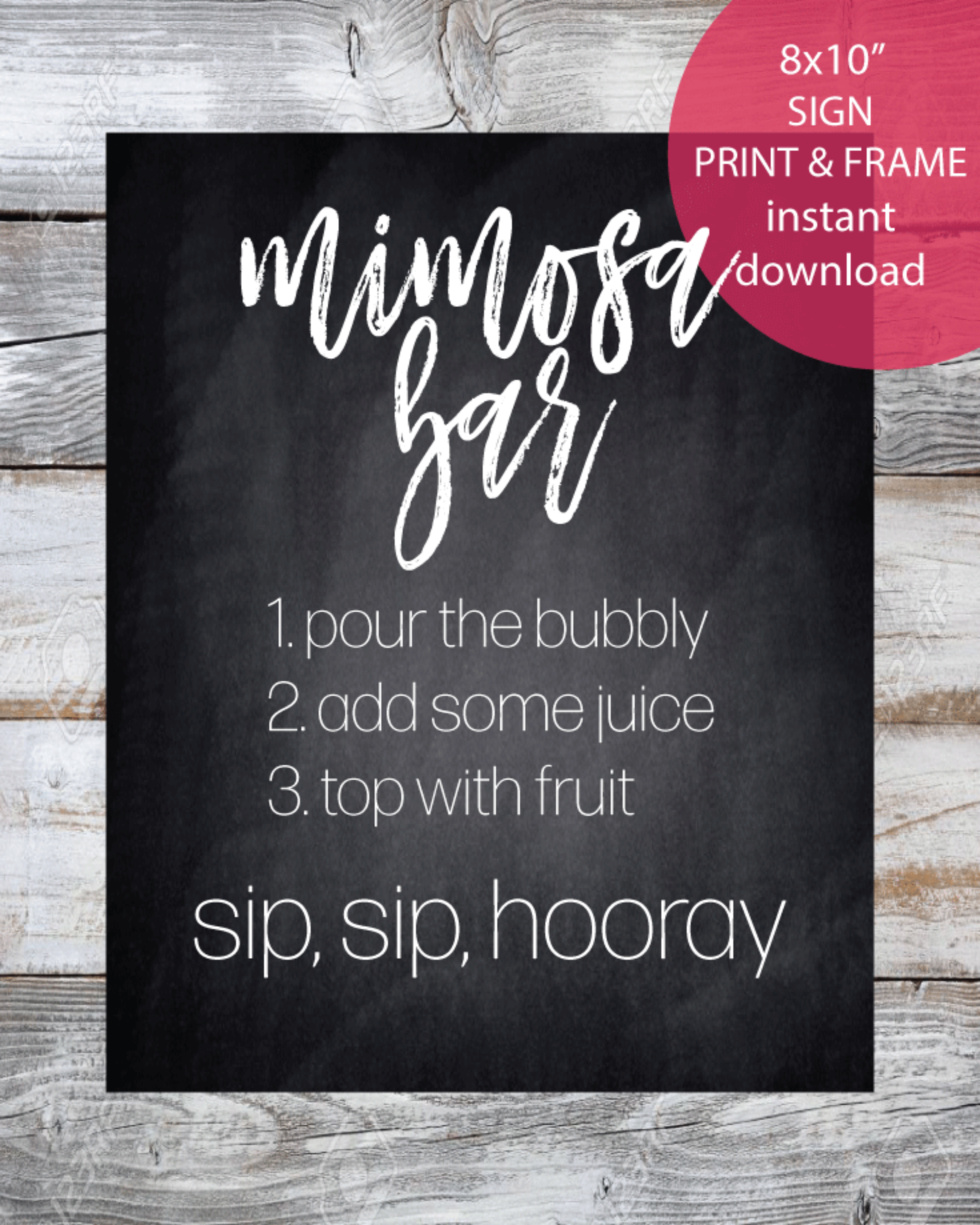 "Printable Mimosa Bar Sign - 8x10"" Chalkboard Style"