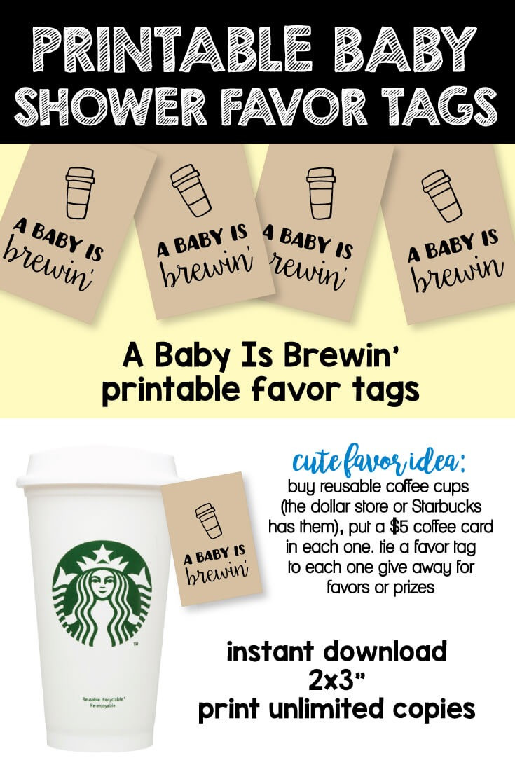 A Baby Is Brewin' Printable Favor Tags