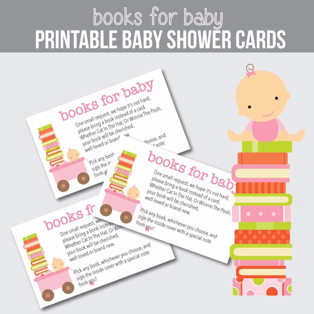 """Printable """"Books For Baby Cards"""" - Pink Baby Shower Cards"""