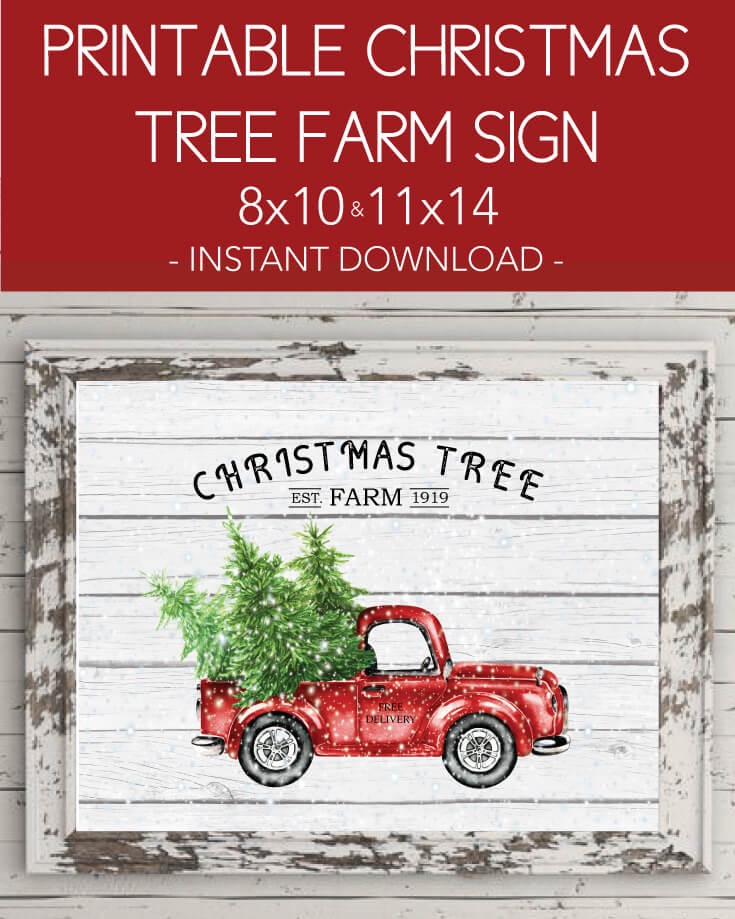 "Printable Christmas Tree Farm Wall Art - Holiday, Winter, Vintage Red Truck 8x10"", 11x14"""