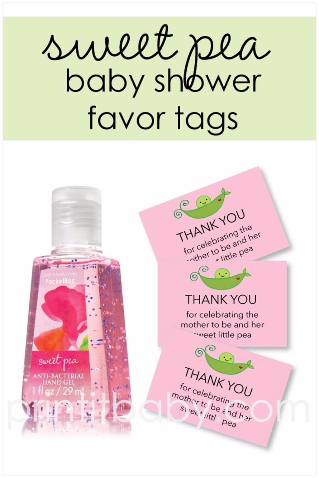 Free Printable Pink Sweet Pea Favor Tags