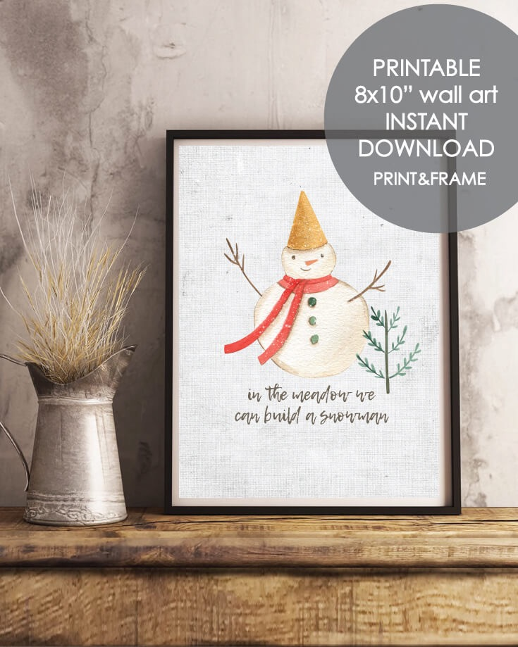 Printable Holiday Snowman Wall Art - Christmas, Winter Theme 8x10""