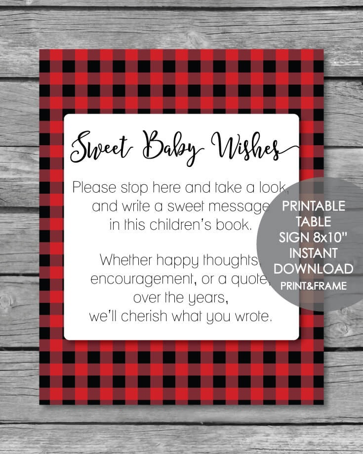Printable Baby Wishes Book Sign - Red & Black Buffalo Plaid Lumberjack 8x10