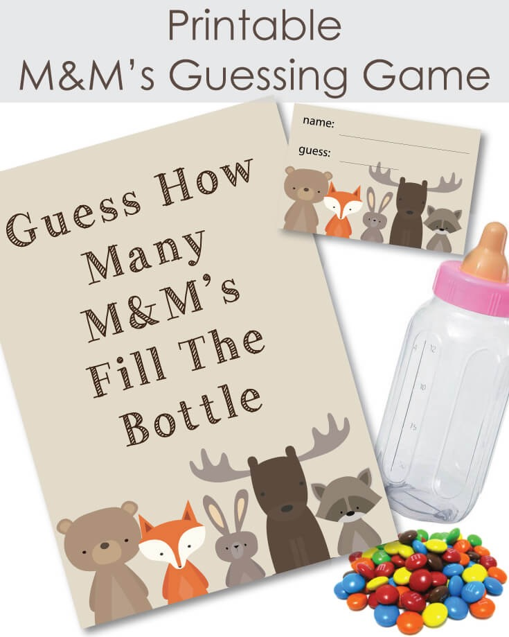 Woodland Animals Printable Candy M & M's Baby Shower Guessing Game