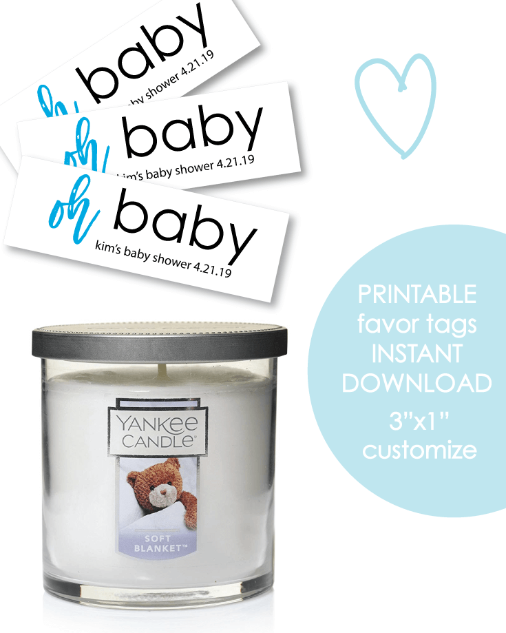 "Printable 3x1"" Oh Baby Blue Baby Shower Favor Tags - Customize"