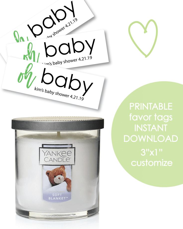 "Printable 3x1"" Oh Baby Green Baby Shower Favor Tags - Customize"