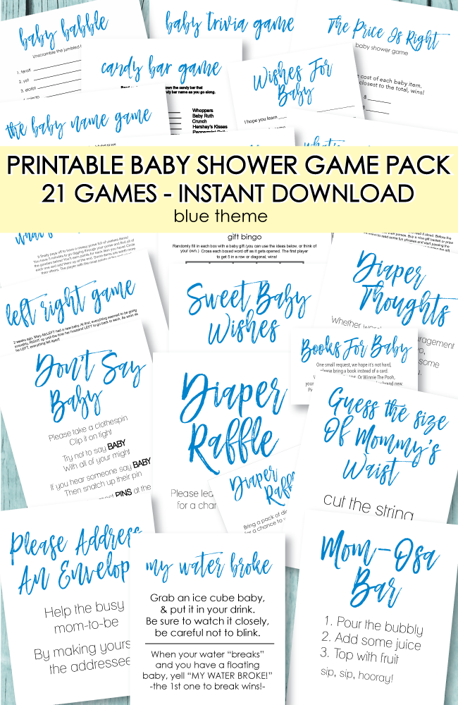 21 Printable Baby Shower Games - Super Game Pack - Blue Theme