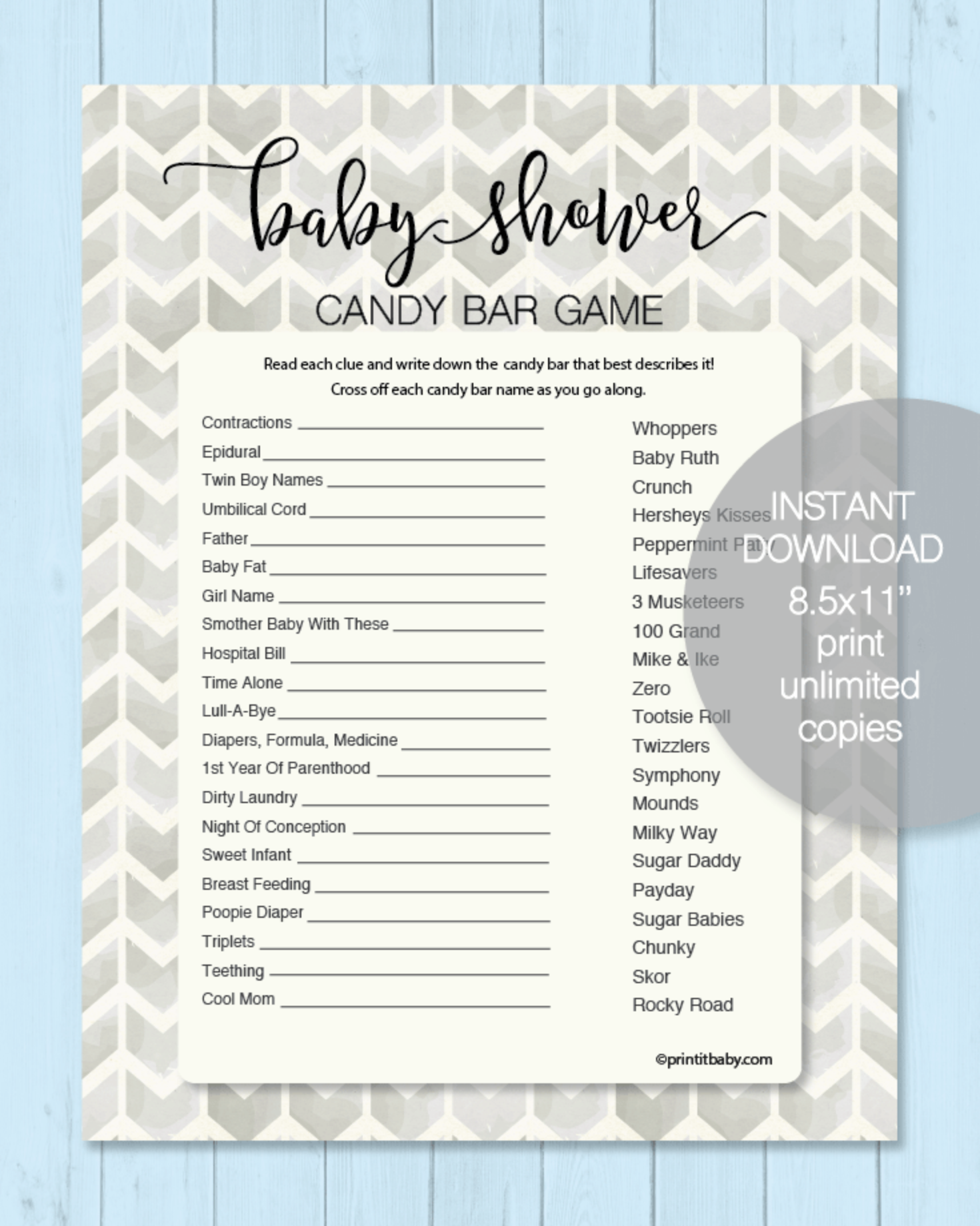 Printable Baby Shower Candy Bar Game - Gray Chevron Arrows - Boho Watercolor