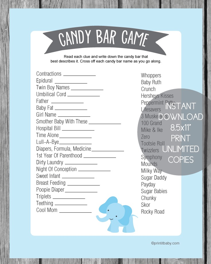 Baby Shower Candy Bar Game - Blue Elephant