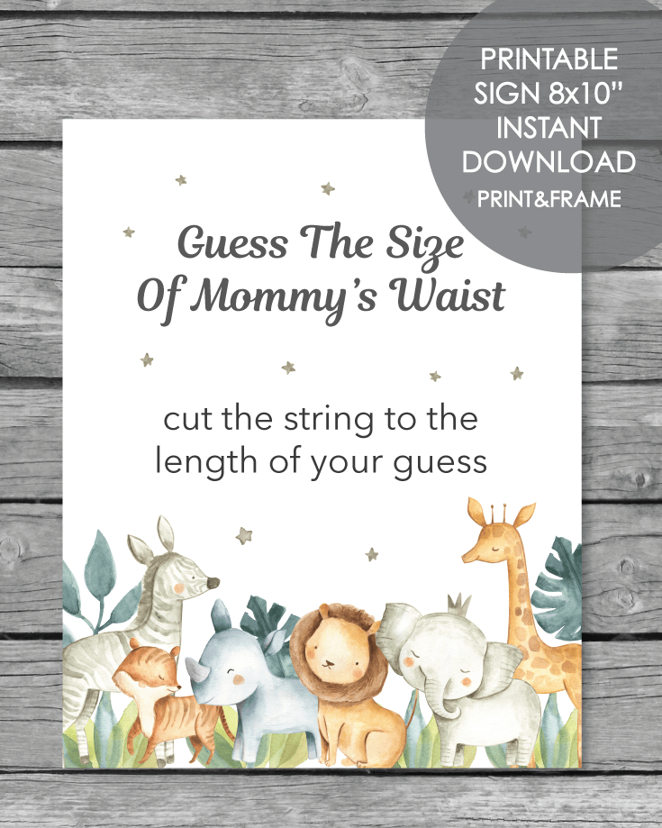 Printable Guess The Size Of Mommy's Waist - Jungle Safari Animals Theme