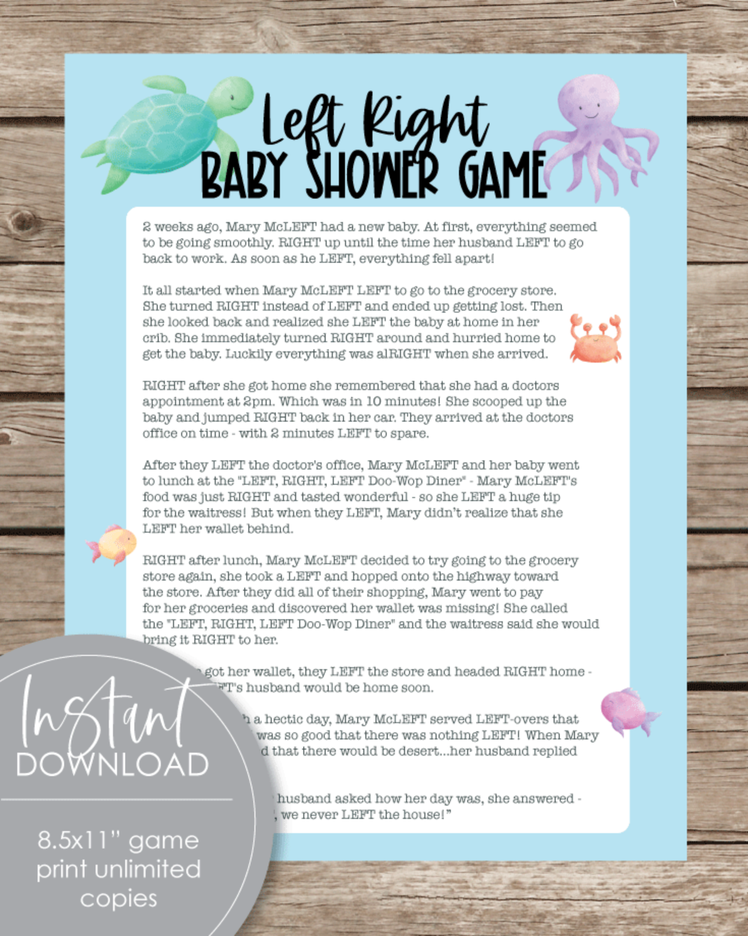 Printable Left Right Baby Shower Game - Sea Creatures, Under The Sea Theme