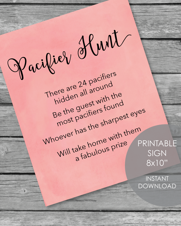 Printable Pacifier Hunt Baby Shower Game Sign - Pink Watercolor