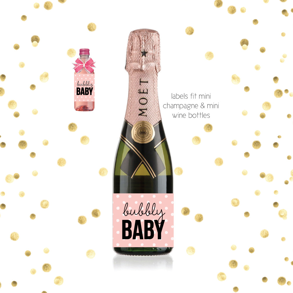 Mini Champagne Baby Shower Favor Labels