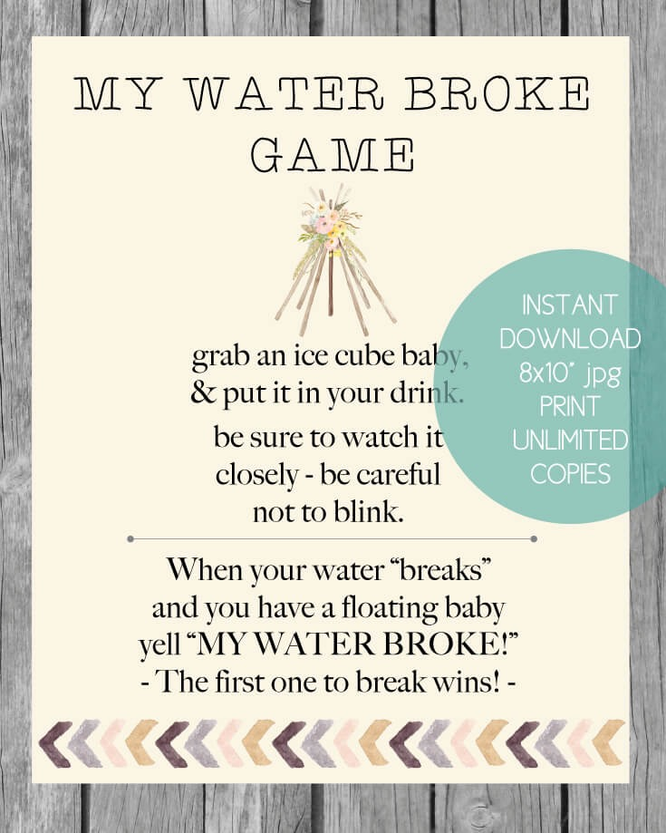 Printable Boho Tribal My Water Broke Baby Shower Game
