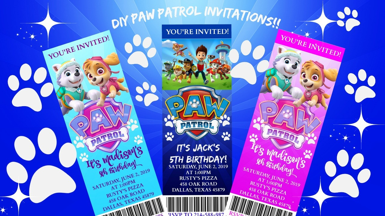 Diy Printable Paw Patrol Birthday Invitation Template Posh Pixel Boutique