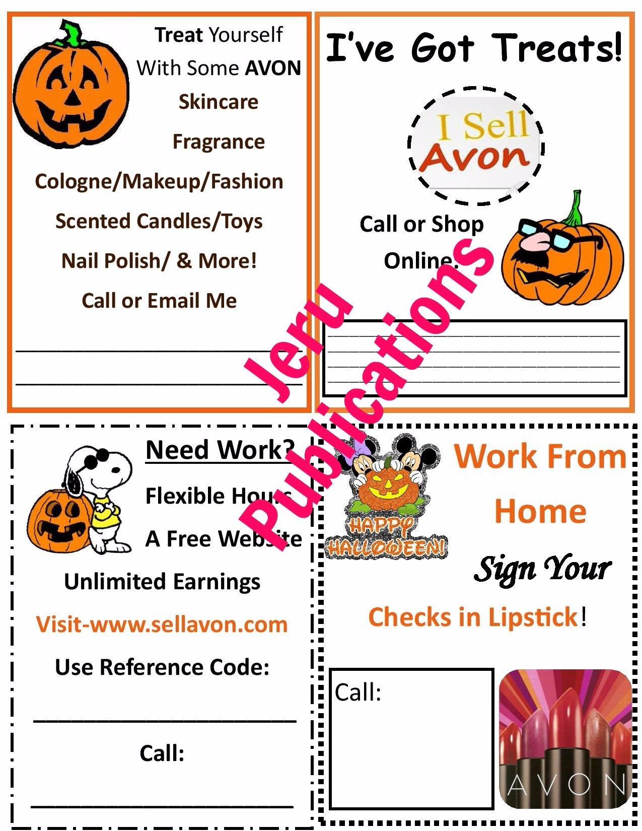 Four Free Holloween Avon Flyers